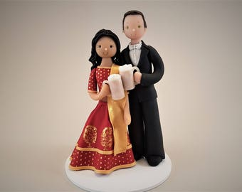 Bride & Groom with Beers Customized Ethnic Wedding Cake Topper
