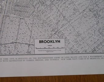 Brooklyn New York Vintage street map, Antique city map, old maps, 1940s Black and White Map