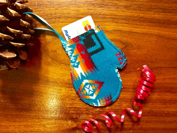Mitten Christmas Ornament / Gift Tag / Gift Card Holder / Money Holder / Wool Turquoise Mini Chief Joseph