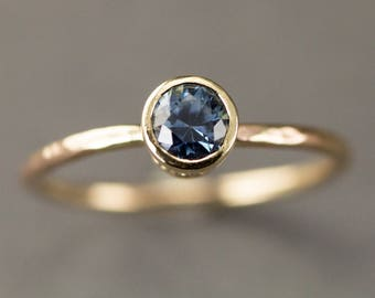 Blue Sapphire Engagement Ring -  14k Gold Scroll Bezel Set Solitaire  - 5mm Genuine Sapphire Ring