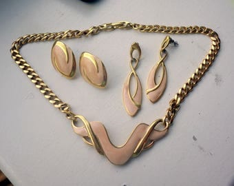 Pure 1980s Napier Costume Necklace - Pink Sand Enamel Plus two earrings.