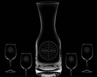Pan American Airways Wine 32 Ounce Carafe & 4 Glass Set