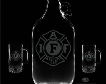 IAFF Personalized Growler and 16 Ounce Mugs Set.