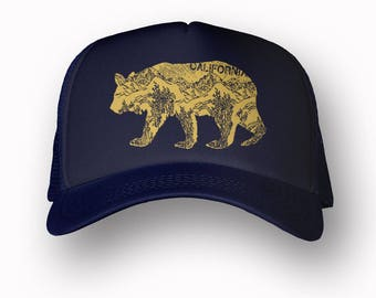 CALIFORNIA BEAR Trucker Hat (+ Colors) - Zen Threads - Hand screen printed in California - Ships Free - zen threads