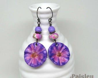 Violet Flower Earrings, Purple Flower Statement Earrings, polymer clay bead earrings, Boho Flower Earrings