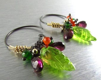 25 OFF Peridot Leaf Hoop Swirl Earrings