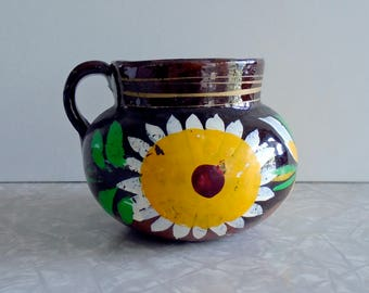 vintage mexican pitcher, terra cotta pottery, sunflowers, hand painted, collectible primitive folk art, art pottery, small planter, accent