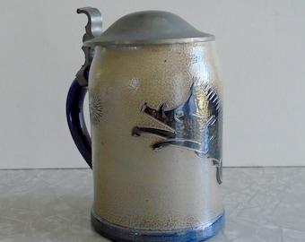 stoneware lidded beer ale stein, boar & starburst design, wheel thrown, salt-glazed  pottery, hand decorated, midcentury mcm illustrated