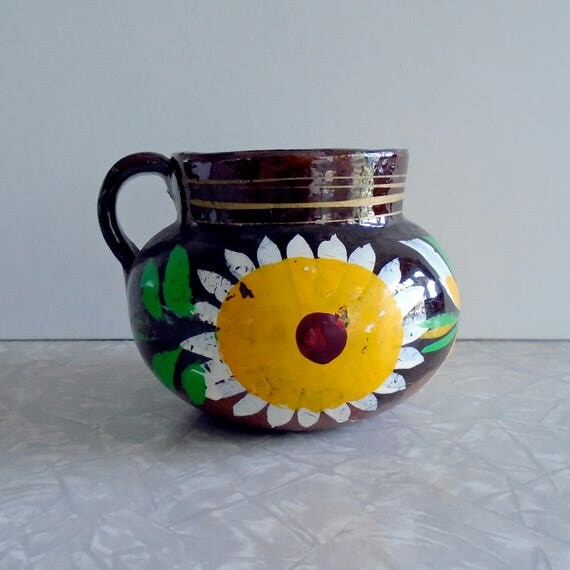 Hand Painted Sunflowers On Pottery Planter