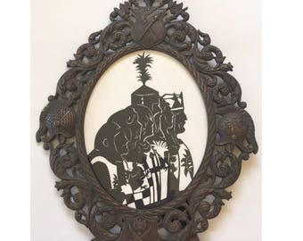 Monty Python and the Holy Grail Hand Cut Silhouette in Antique Frame