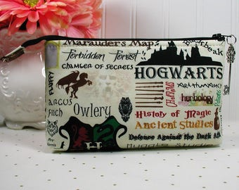 Hogwarts Zipper Pouch/ Wizards Pouch /Harry Potter Pouch/ Magic School Pouch