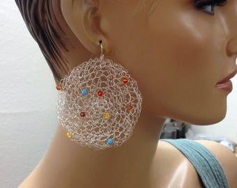 Crochet earrings silver with native colors crystals Knitted earrings handmade Swarovski earrings