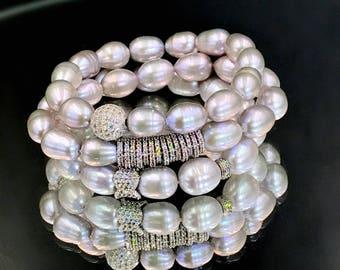Stretch Bracelet Set of 3 Stack Bracelet Silver Grey Pearl Bracelet Pave Silver CZ Charm Yoga Stretch Layering Bracelet Set Black Tie