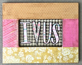 I heart us framed mixed media collage by Things With Wings