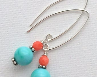 Coral Turquoise Earrings. Solid 925 Sterling Silver, Genuine Turquoise and Real Coral