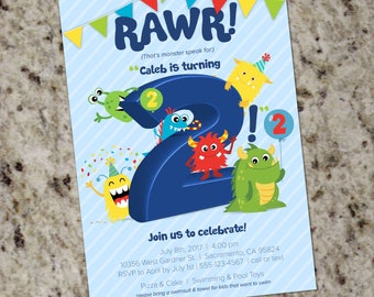 MONSTER Birthday Party Invitation - Little Monster Invitations - ANY AGE - Printable - Print Your Own