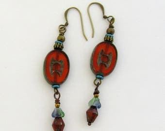 Burnt Orange Czech Bead Boho Style Dangle Earrings by Carol Wilson of Je t'adorn