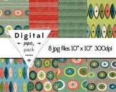 Retro Modern Paper Pack 8 Printable Digital Scrapbooking Papers - 10 x 10 - 300 DPI - INSTANT DOWNLOAD