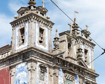 Portugal Photography, Church of Saint Ildefonso, The Azulejo Blue Tiles of Porto, Architecture of Porto, blues of Portugal,  wall art