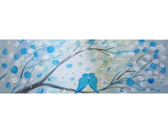 Birds Painting, Blue White Love Birds Tree Music Painting, Oil on Canvas ready to Ship