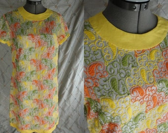 "60s 70s Dress // Vintage Yellow Orange Green Paisley Embroidered Dress by R&K Originals Size L 30"" waist"