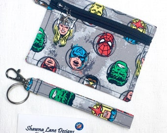Marvel Comics zipper pouch, coin pouch, keychain with wristlet strap, debit card keeper, money pouch, lip balm holder, affordable fun gifts
