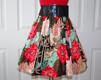 Skirt Vintage Style Skirt Gathered Elastic Waist Asian Print Skirt Ladies Teens Skirt for Her Handmade in USA One of a Kind