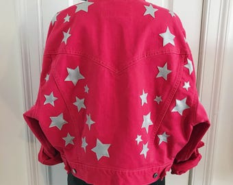Vintage Patch Levi's Red Denim Jacket Silver Stars Patches Applique Embellished Jean Medium