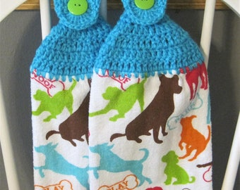 2 Crocheted Hanging Kitchen Towels - Playful dog Silhouettes