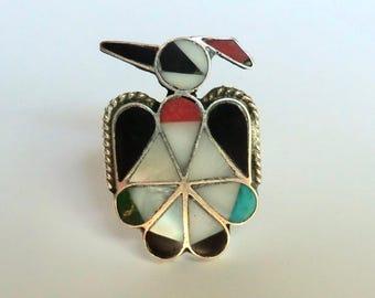 Vintage Sterling Zuni Thunderbird Ring Multi Stone Inlay 1970s Size 4.5