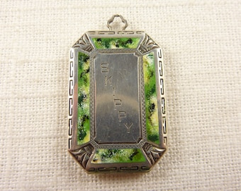 "Antique Art Deco B.M. Co Sterling and Enamel Locket Engraved ""Skippy"" with Original Photos"