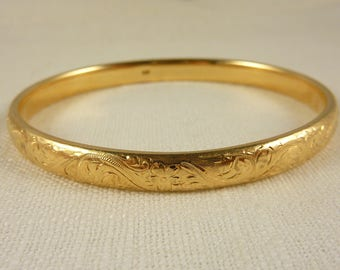 Vintage 14K Solid Gold Engraved Etched Bangle -19 Grams