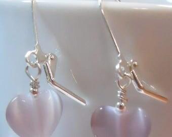 SALE, 50%, Lavender purple heart cats eye earrings, heart earrings
