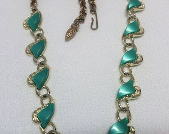 Teal Green Thermoset Necklace Retro Style Thermoplast Cabachons #B795