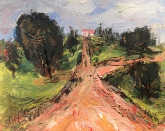 Tuscan Landscape, Expressive road to villa Italian painting palette knife art  10 x 10 in, Russ Potak