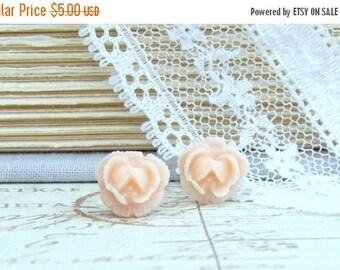 Peach Rose Stud Earrings Peach Rose Earrings Small Rose Earrings Surgical Steel Studs Peach Flower Studs