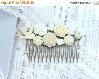 Ivory Hair Comb Flower Hair Comb Ivory Flower Comb Bird Comb Floral Hair Comb Wedding Flower Comb