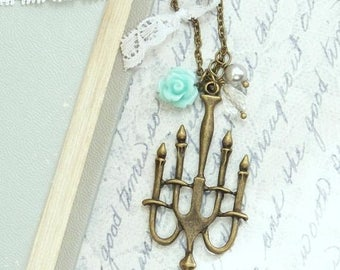 Chandelier Necklace Aqua Blue Necklace Rose Necklace Shabby Chic Necklace Candelabra Necklace
