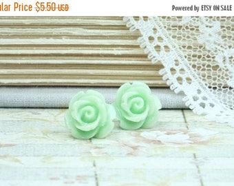 Green Flower Earrings Mint Green Studs Rose Stud Earrings Flower Studs Rose Earrings Surgical Steel Studs