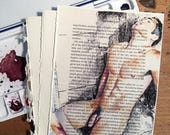 Bearded Nude Male Sitting in the Shower on Vintage Book Paper by Artist Brenden Sanborn