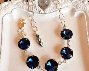 SALE 20% Off Silver Bracelet - Navy - Victorian Jewelry - Art Deco - WELWYN Navy