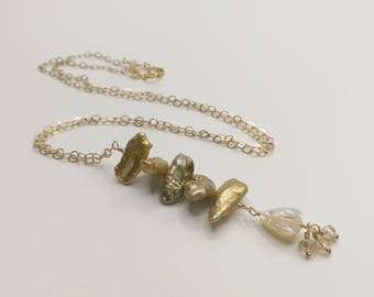 Pikake Flower Mother of Pearl Drop with Five Keshi Freshwater Pearls 14 kt Gold Filled