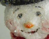 One of a Kind sculpted paper mache Winter Holiday Snowman folk art