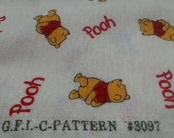 Vintage Fabric / Winnie The Pooh Fabric / Bear Material / Cotton Poly Blend / Sewing Fabric / Craft Supplies / Retro Fabric / Retro Material