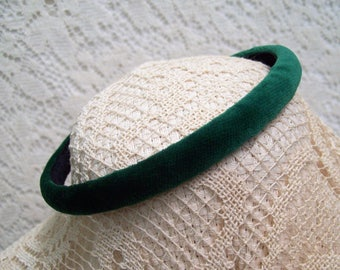 tiny emerald green velvet head band