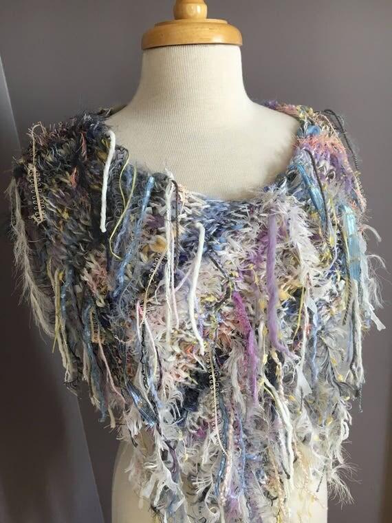 Fringed Plush Knit Poncho,  Dumpster Diva 'Wanderer' Mixed fiber Fringed Wrap, Fringed Ponchos, wearable art, huntress, rayon silk mohair