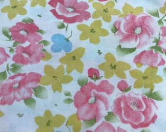 One Yard of Vintage Sheet Fabric.  Blue and purple floral