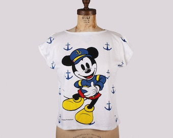 NAUTICAL MICKEY Deadstock 90s Sailor Mickey Mouse Crop Top T-Shirt / Size Large / New Old Stock w Original Tags