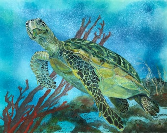 Original Watercolor Painting a Culmination of Artistic Expression,of a Sea Turtle Swimming Amongst Coral Beds &Seaweed by Janet Dosenberry