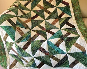 Quilted Batik Sofa Throw, Green and Brown Pine Trees Lap Quilt, Large Timber Masculine Quilt, Quiltsy Handmade Patchwork, Man Cave Decor